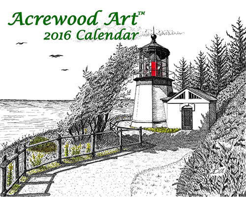 2016 Pacific Northwest Lighthouses Fine Art Wall Calendar, with drawings from Original Pen & Ink by Wayne Bricco, Acrewood Art