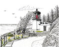 Cape Meares Lighthouse, from original pen & ink by Wayne Bricco, Acrewood Art
