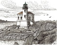 Coquille River Lighthouse, from original pen & ink by Wayne Bricco, Acrewood Art