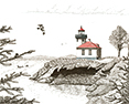 Lime Kiln Lighthouse, from original pen & ink by Wayne Bricco, Acrewood Art