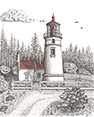 Umpqua River Lighthouse, from original pen & ink by Wayne Bricco, Acrewood Art